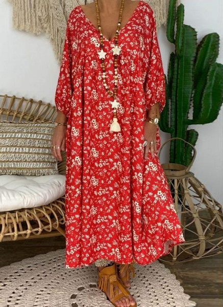 Red Plus Size Tunic Floral V-Neckline Casual Maxi Plus Dress_1