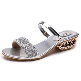 Women's Rhinestone Heels Chunky Heel Sandals_1