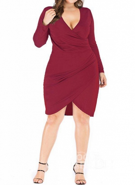 Black Plus Size Pencil Solid V-Neckline Casual Knee-Length Plus Dress_6