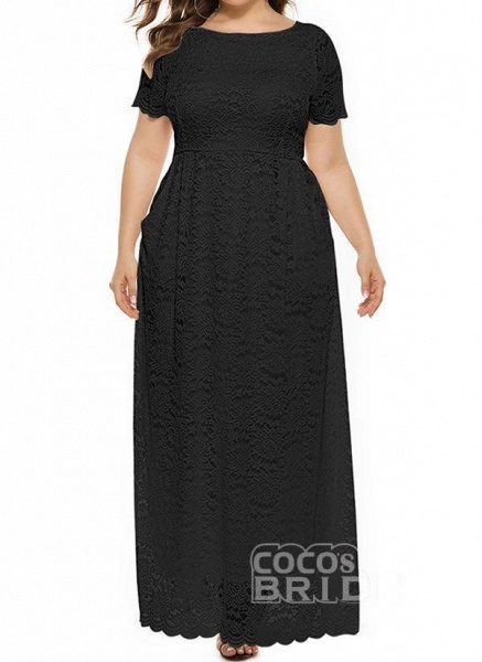 Off-white Plus Size Solid Round Neckline Casual Lace Pockets Maxi Plus Dress_7