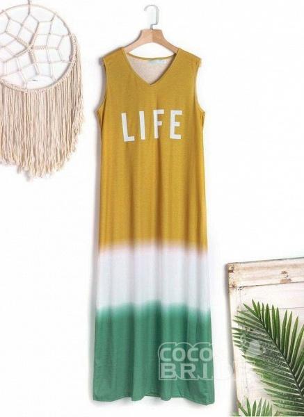 Gray Casual Color Block Tunic V-Neckline Shift Dress_4