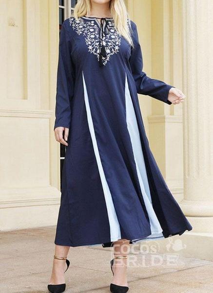 Dark Blue Plus Size Tunic Color Block Round Neckline Casual Midi Plus Dress_3