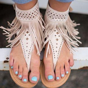 Women's Tassel Slingbacks Flip-Flops Flat Heel Sandals