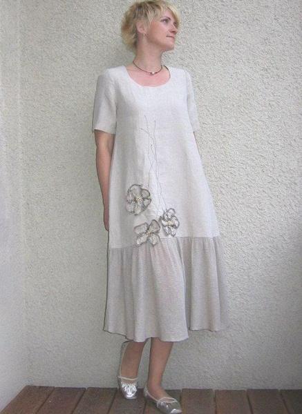 White Plus Size Color Block Round Neckline Elegant Maxi Midi Shift Dress Plus Dress_1