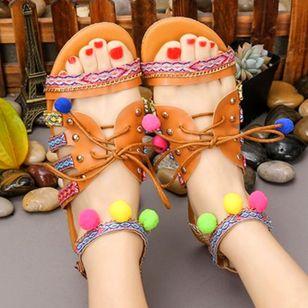 Women's Rivet Lace-up Flats Low Top Flat Heel Sandals_2
