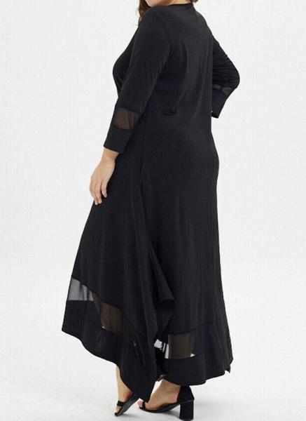 Black Plus Size Tunic Solid Round Neckline Casual Pockets Plus Dress_2