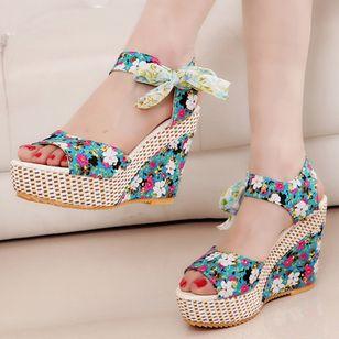 Women's Lace-up Flower Slingbacks Cloth Wedge Heel Sandals_5