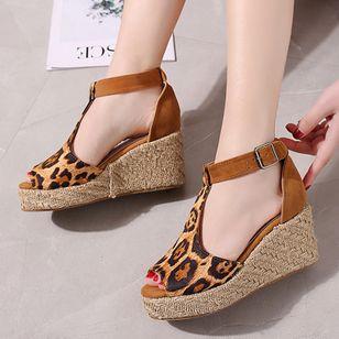 Women's Buckle Ankle Strap Peep Toe Nubuck Wedge Heel Sandals_3