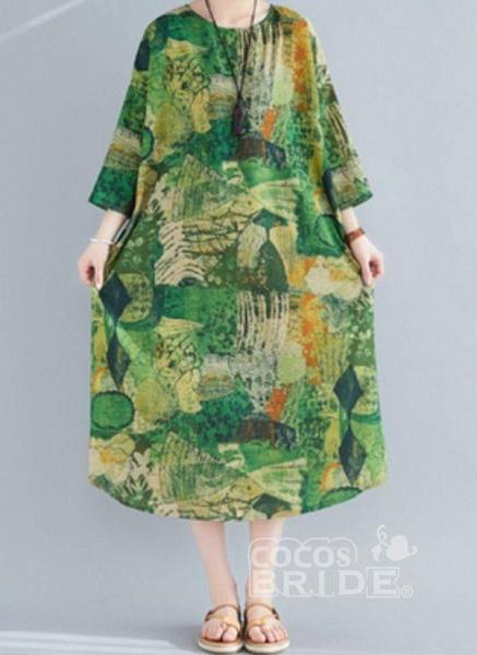 Plus Size Tunic Color Block Round Neckline Midi Plus Dress_4