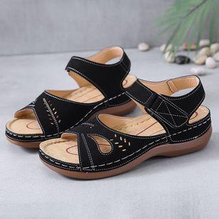 Women's Hollow-out Slingbacks Flat Heel Sandals_5