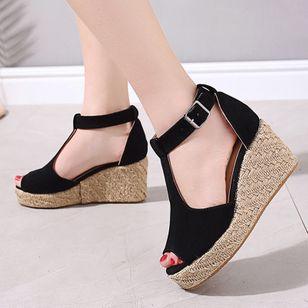 Women's Buckle Ankle Strap Peep Toe Nubuck Wedge Heel Sandals_4