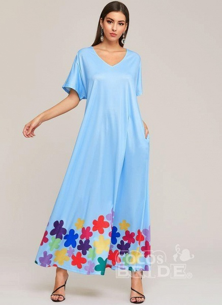 Black Plus Size Color Block V-Neckline Elegant Maxi Shift Dress Plus Dress_6