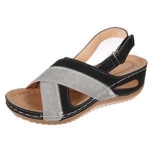 Women's Velcro Round Toe Flat Heel Sandals_5