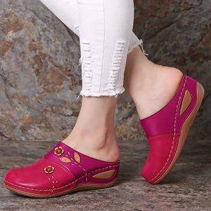Women's Flower Closed Toe Wedge Heel Sandals_6