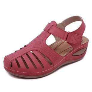 Women's Hollow-out Velcro Round Toe Flat Heel Sandals_6