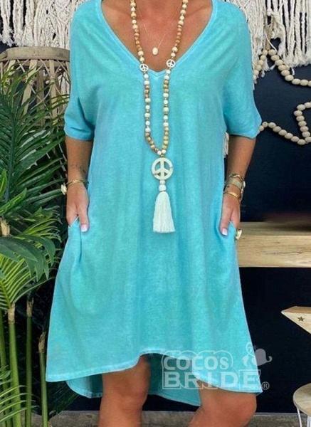Blue Plus Size Tunic Solid V-Neckline Casual Pockets Plus Dress_3