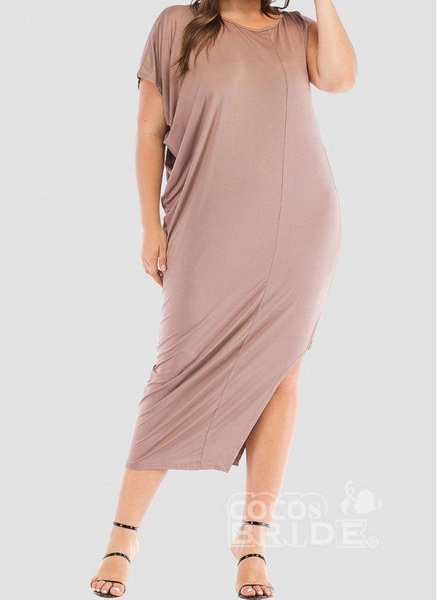 Khaki Plus Size Tunic Solid Round Neckline Casual Elegant Midi Plus Dress_5