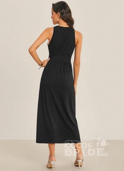 Black Sexy Solid Slip Camisole Neckline Sheath Dress_4
