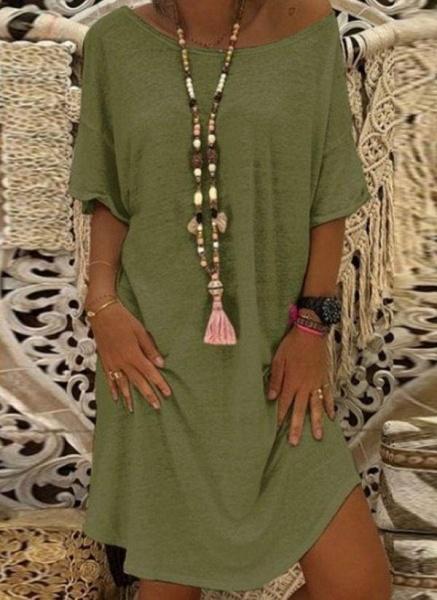 Khaki Plus Size Tunic Solid Round Neckline Casual Knee-Length Plus Dress_2