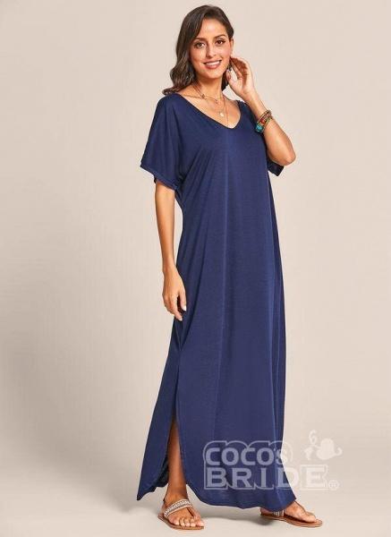 Royal Blue Plus Size Solid V-Neckline Casual Maxi Plus Dress_3