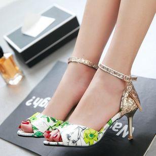Women's Beading Buckle Heels Leatherette Stiletto Heel Sandals_4