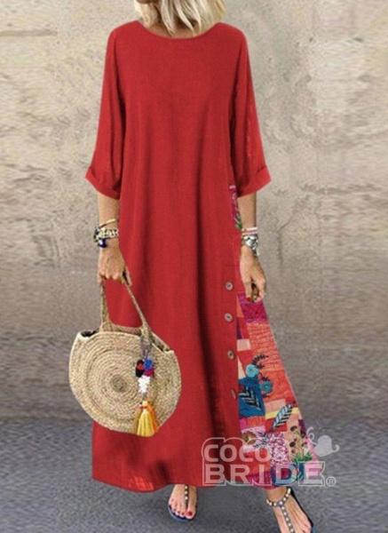 Dark Blue Plus Size Floral Round Neckline Casual Maxi A-line Dress Plus Dress_2