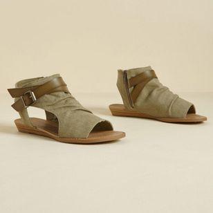 Women's Buckle Zipper High Top Flat Heel Sandals_4