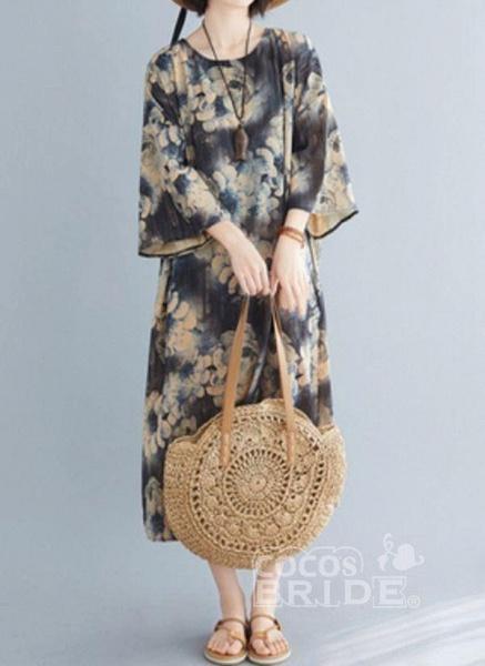 Dark Gray Plus Size Tunic Floral Round Neckline Casual Midi Plus Dress_5