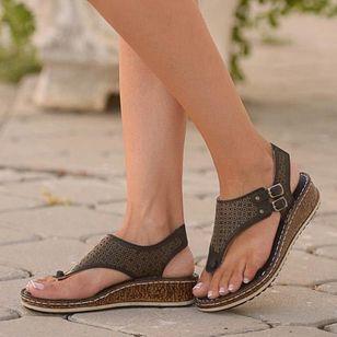 Women's Buckle Hollow-out Flip-Flops Wedge Heel Sandals_2