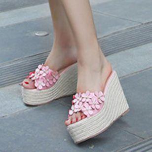 Women's Flower Peep Toe Wedge Heel Sandals_6