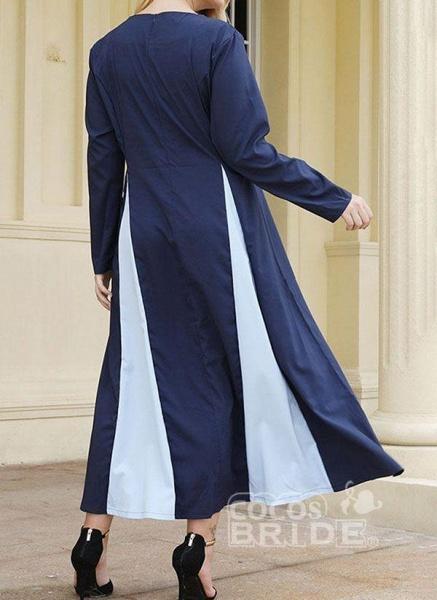Dark Blue Plus Size Tunic Color Block Round Neckline Casual Midi Plus Dress_2