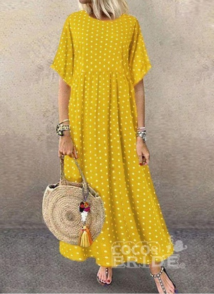 Yellow Plus Size Tunic Polka Dot Round Neckline Casual Midi Plus Dress_4