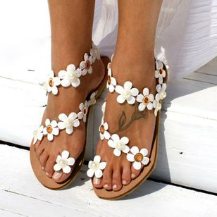 Women's Imitation Pearl Flower Toe Ring Flat Heel Sandals_3