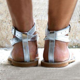 Women's Buckle Flip-Flops Flat Heel Sandals_3