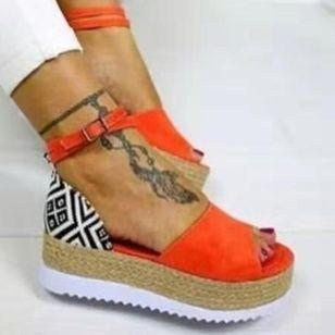 Women's Buckle Flats Cloth Flat Heel Sandals Platforms_2