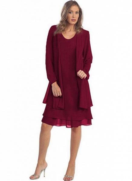 Burgundy Plus Size Solid Round Neckline Elegant Knee-Length Shift Dress Plus Dress_1