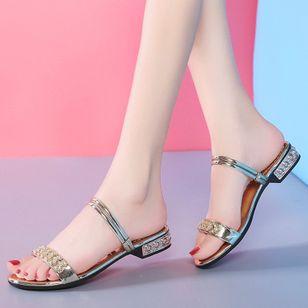 Women's Rhinestone Flats Chunky Heel Sandals Slippers_2