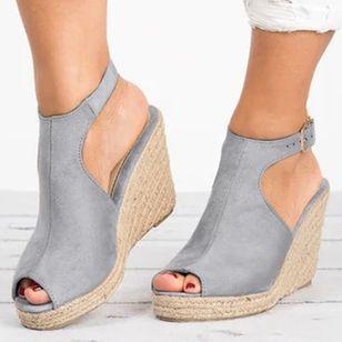 Women's Buckle Peep Toe Heels Nubuck Wedge Heel Sandals_4