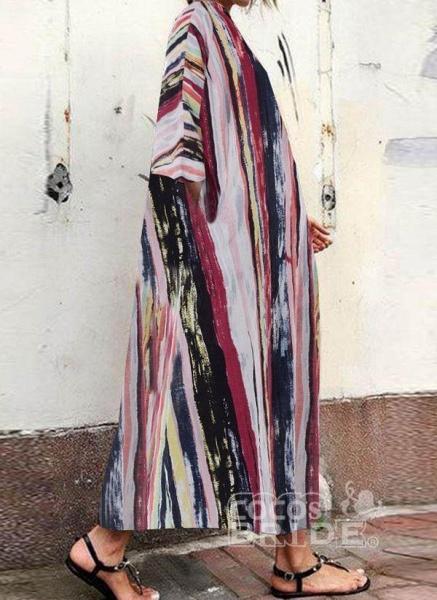 Multicolor Plus Size Tunic Color Block Round Neckline Casual Pockets Plus Dress_2