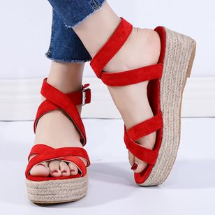 Women's Buckle Slingbacks Flat Heel Sandals Platforms_6