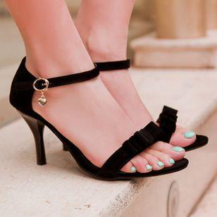 Women's Buckle Heels Nubuck Spool Heel Sandals_4