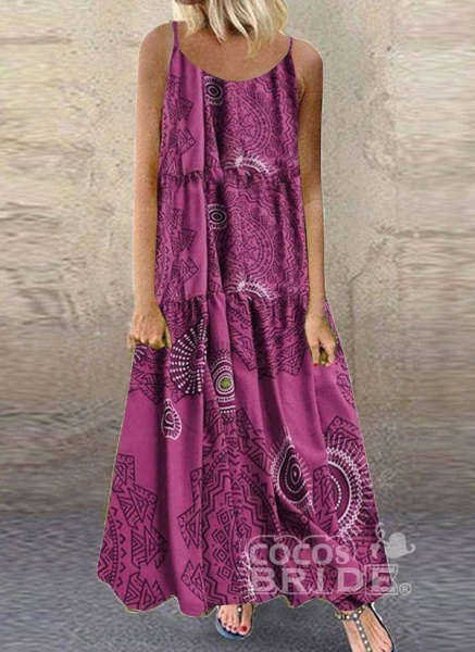 Blue Plus Size Tunic Color Block Camisole Neckline Casual Maxi Plus Dress_4