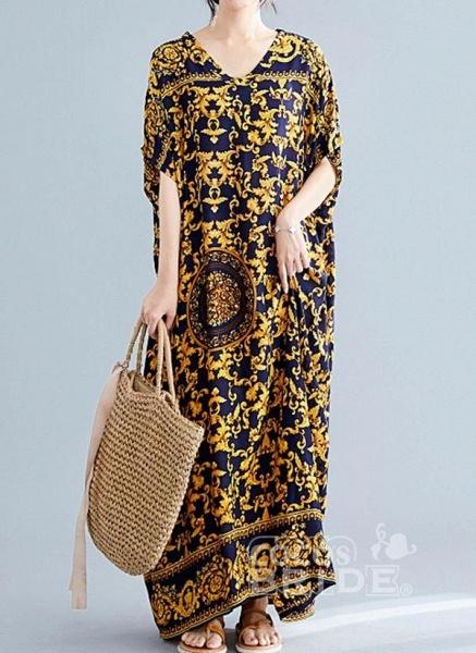 Gold Plus Size Tunic Color Block V-Neckline Casual Maxi Plus Dress_5