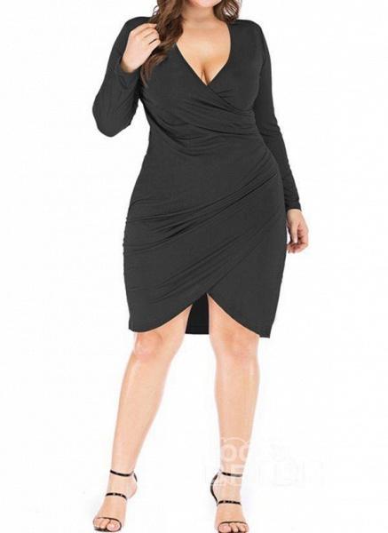 Black Plus Size Pencil Solid V-Neckline Casual Knee-Length Plus Dress_2
