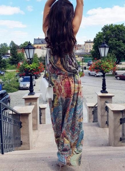 Casual Geometric Round Neckline Maxi X-line Dress_4