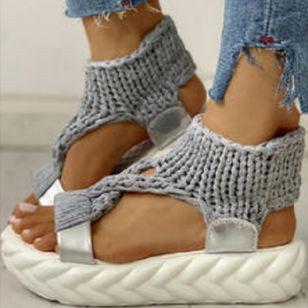 Women's Knit Slingbacks Fabric Flat Heel Sandals Platforms_1