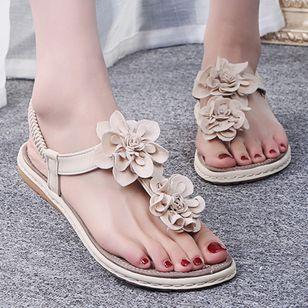 Women's Applique Flip-Flops Flat Heel Sandals_1