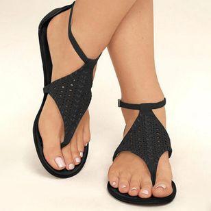Women's Hollow-out Ankle Strap Flip-Flops Flat Heel Sandals_2