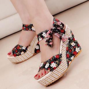 Women's Lace-up Flower Slingbacks Cloth Wedge Heel Sandals_2