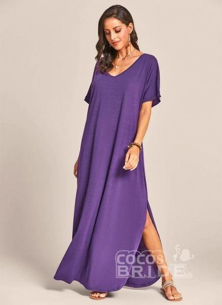 Royal Blue Plus Size Solid V-Neckline Casual Maxi Plus Dress_7